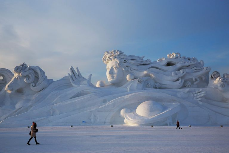 A giant snow sculpture at the Harbin festival