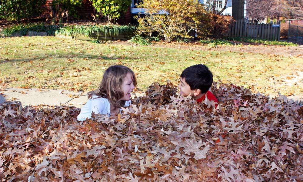 two kids play in a pile of leaves