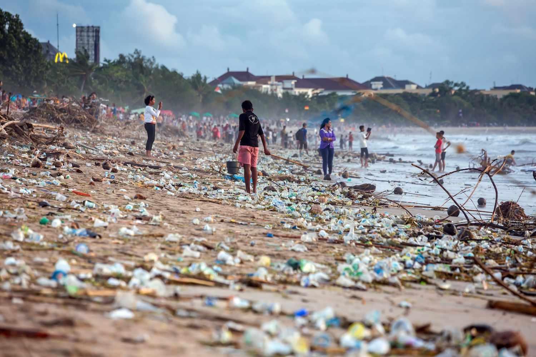 Bali beach pollution Beach pollution at Kuta beach, Bali
