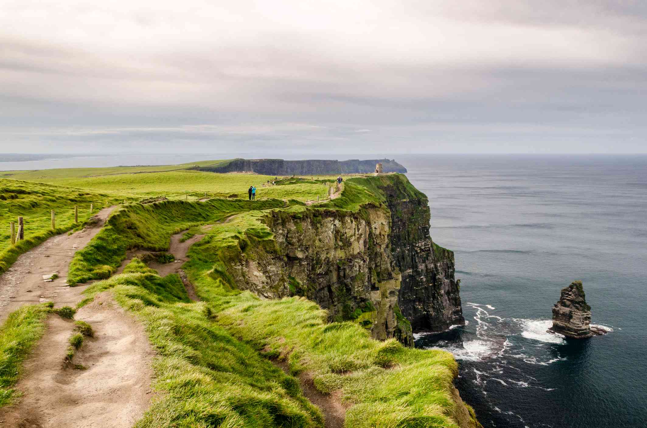 The grass-covered land above the Cliffs of Moher on a cloudy day in County Clare, Ireland