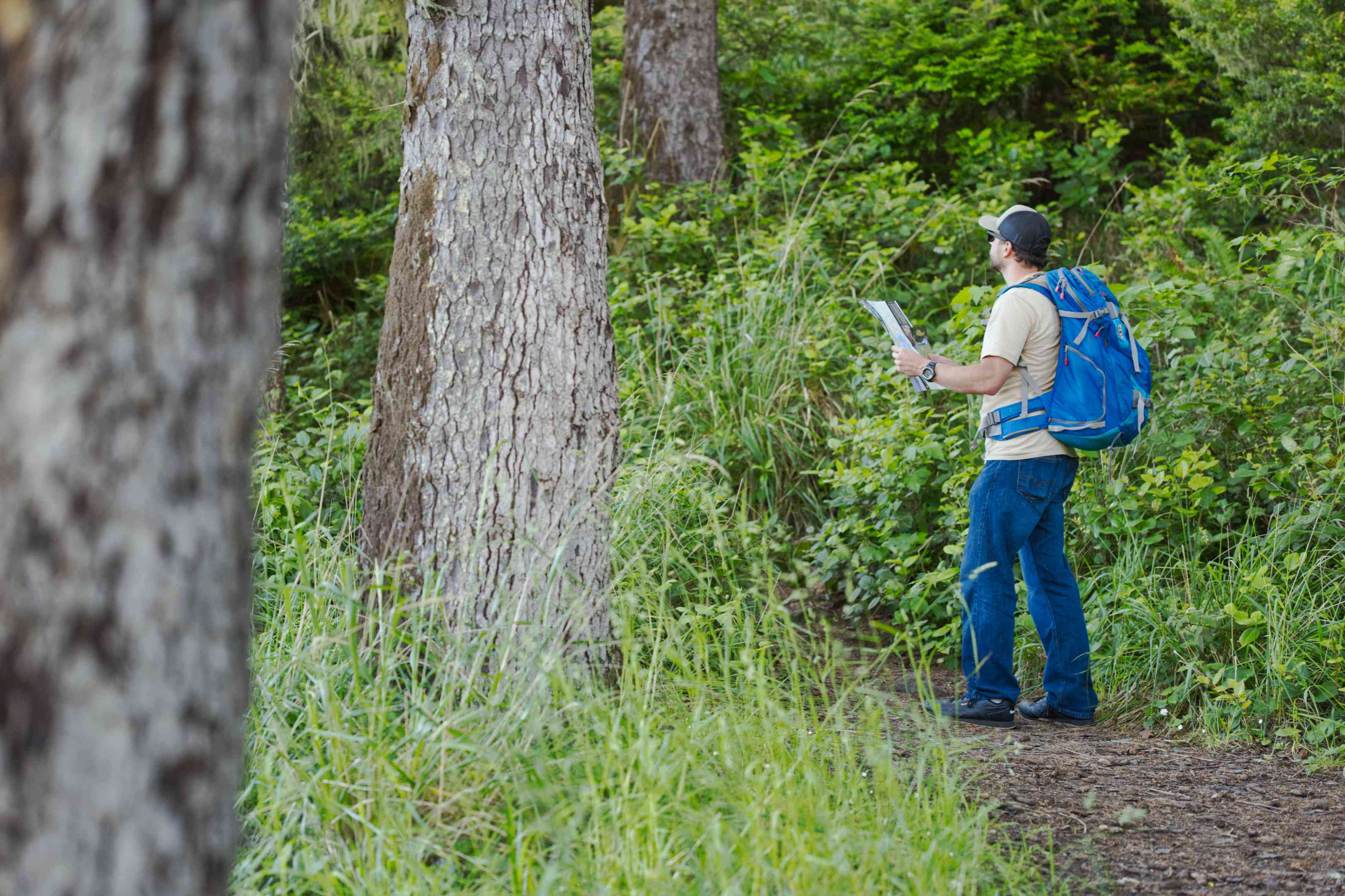guy hiking with blue backpack and map on a dirt trail in deep forst
