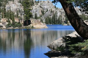 Lake Lertoria, from west end. At about 2,600 m (8,500 ft), in Emigrant Wilderness, Sierra Nevada USA. (Shown as Letora Lake on some maps.)
