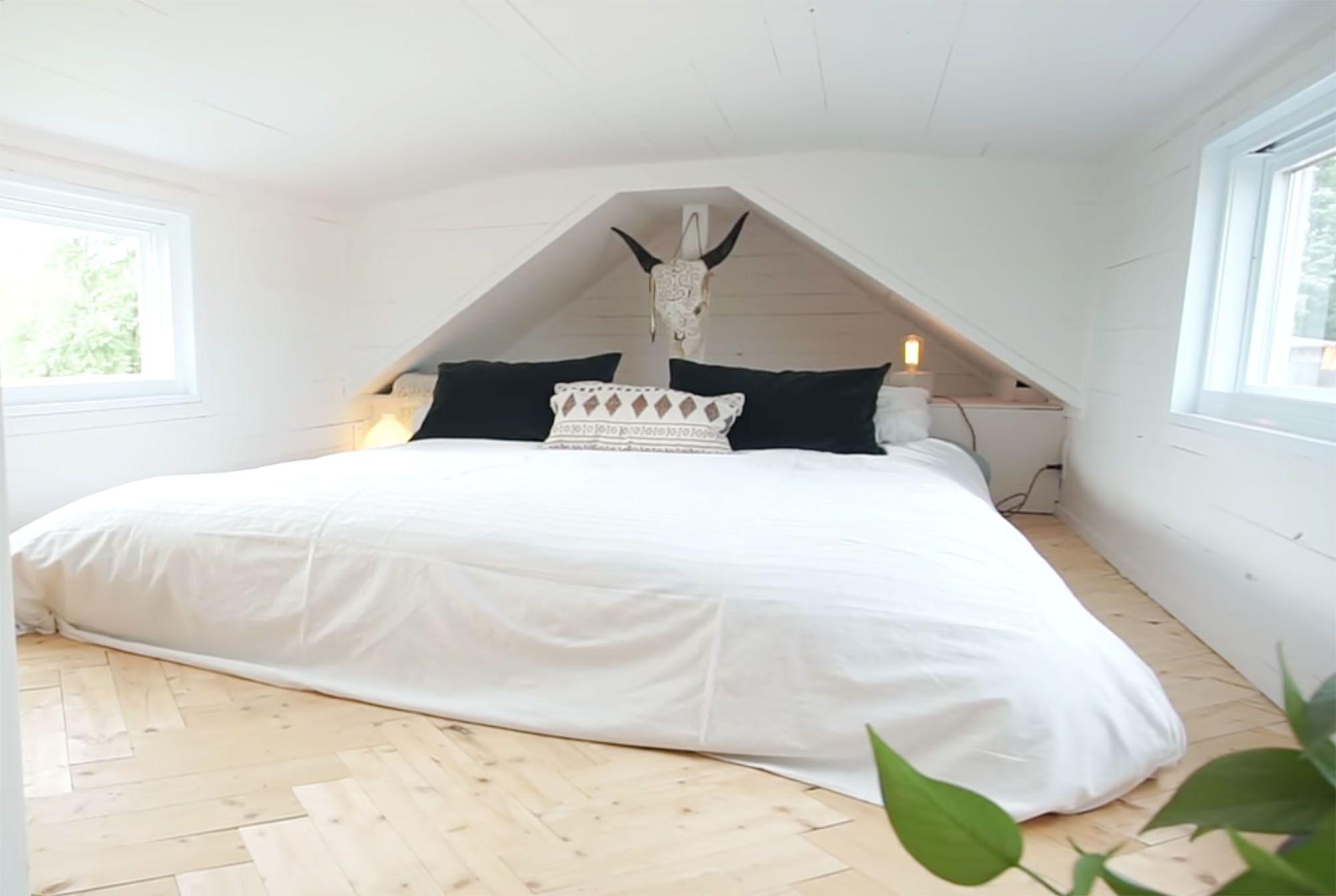 family of three diy tiny house transformer furniture sleeping loft