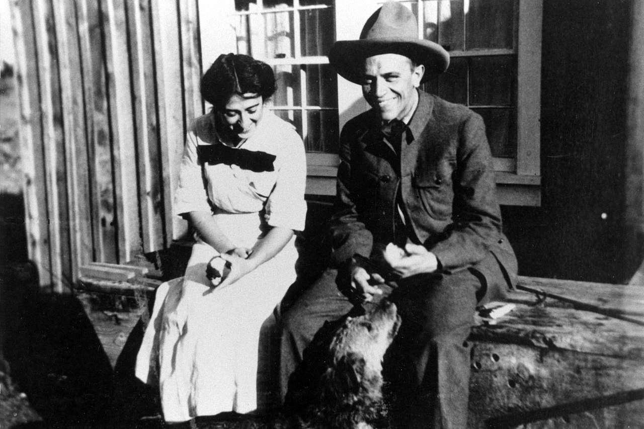 Aldo and wife Estella Leopold sitting with dog