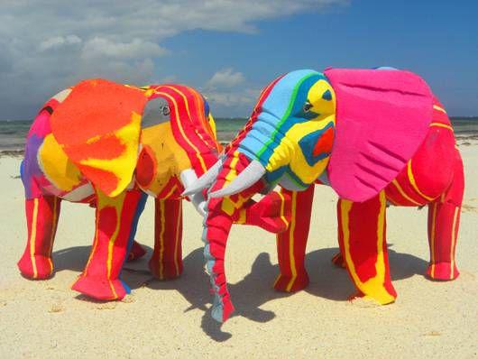 elephant flip flop sculptures