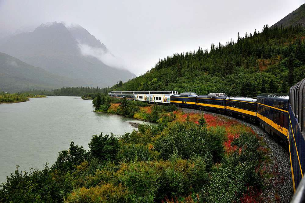 Alaska Railroad Denali Star rounding a curve near Denali Alaska