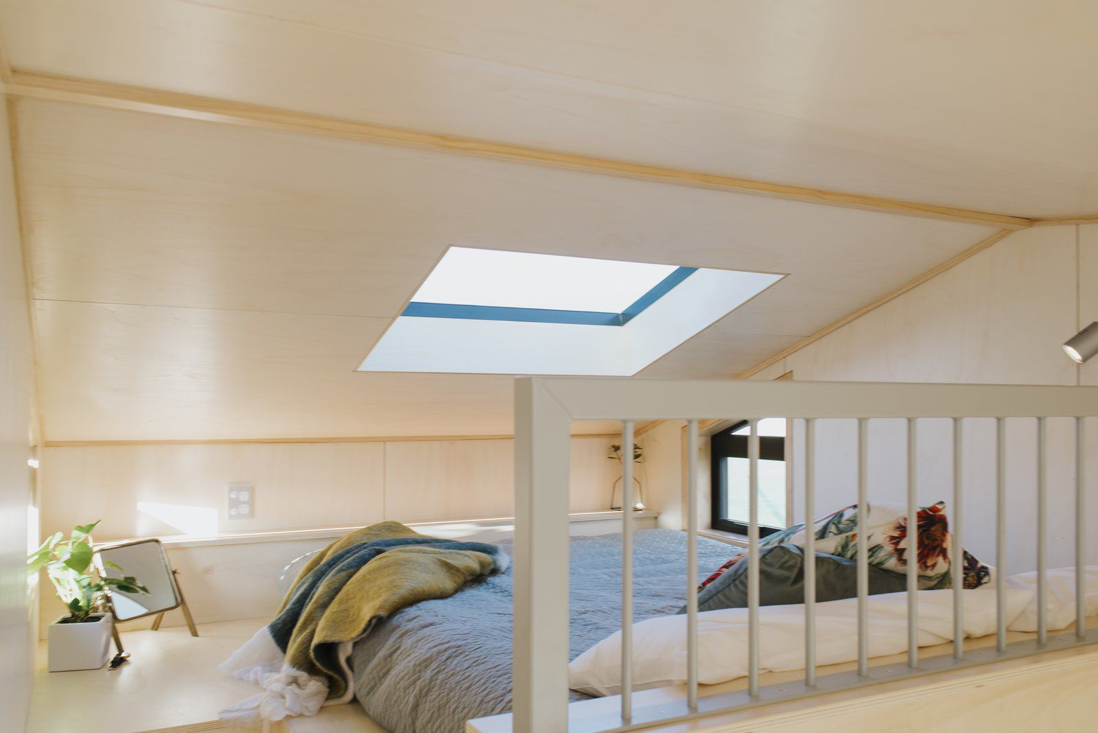 Ohariu tiny house by First Light Studio and Build Tiny bedroom