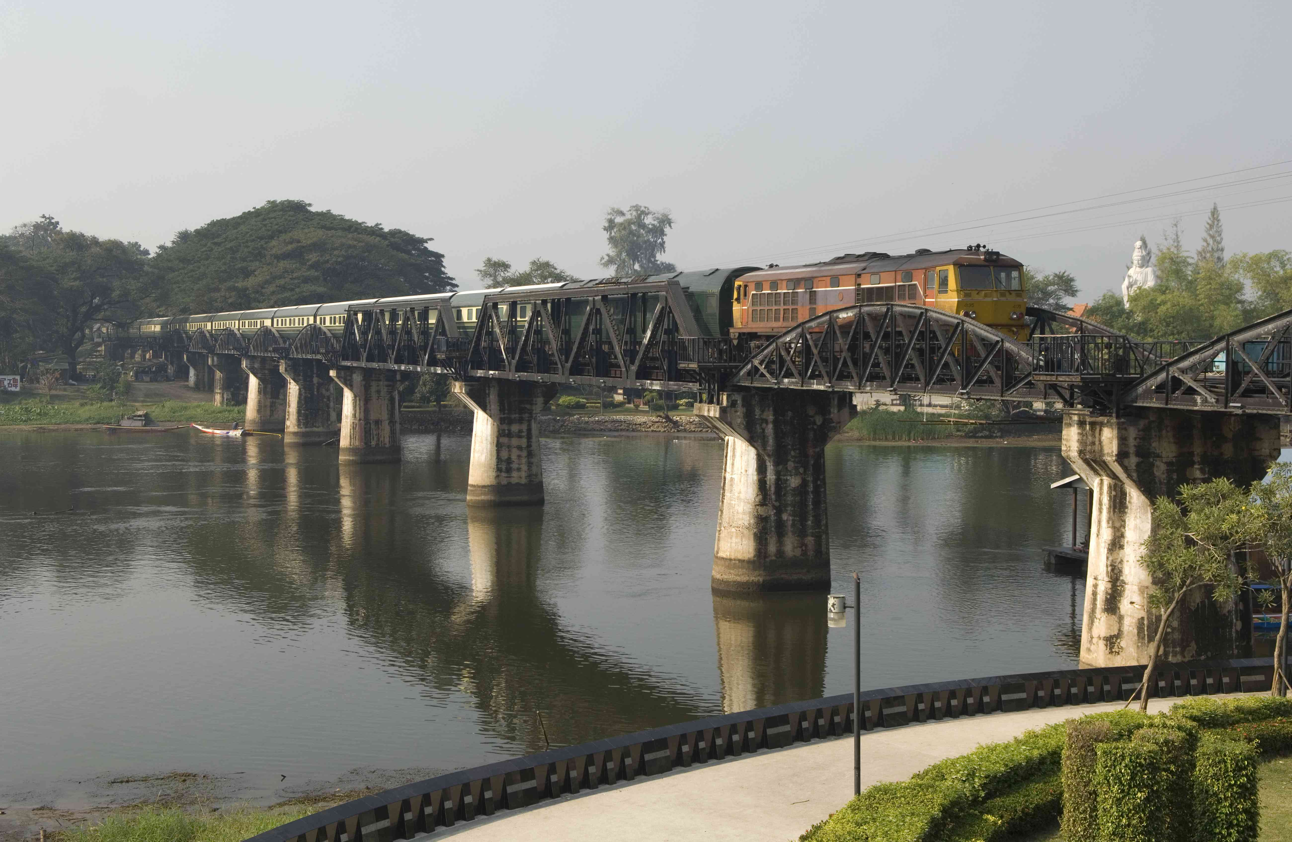 Eastern and Oriental Express crossing bridge over River Kwai, Thailand