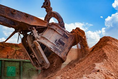 Aluminium ore quarry with bauxite clay open-pit mining