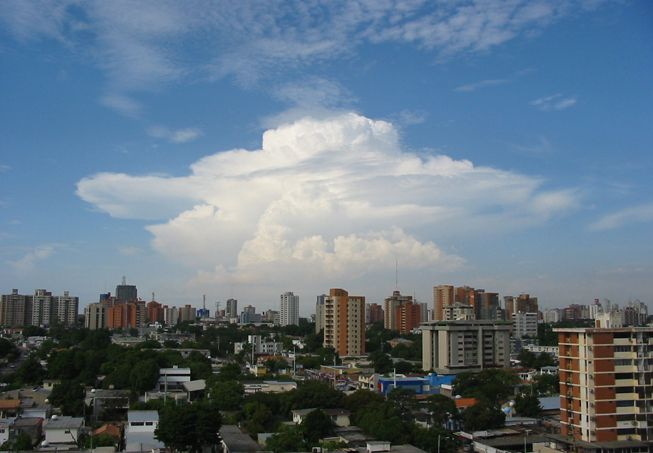 A velum accessory clouds form around a large cloud over Maracaibo, Venezuela