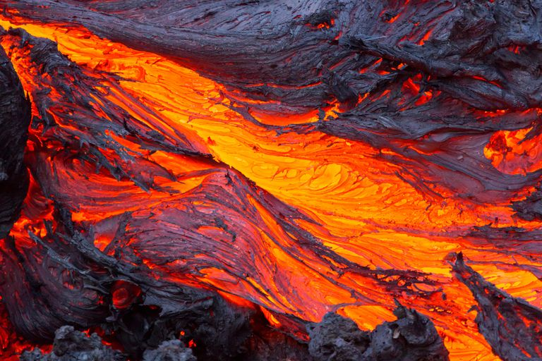 Lava flowing down a hill