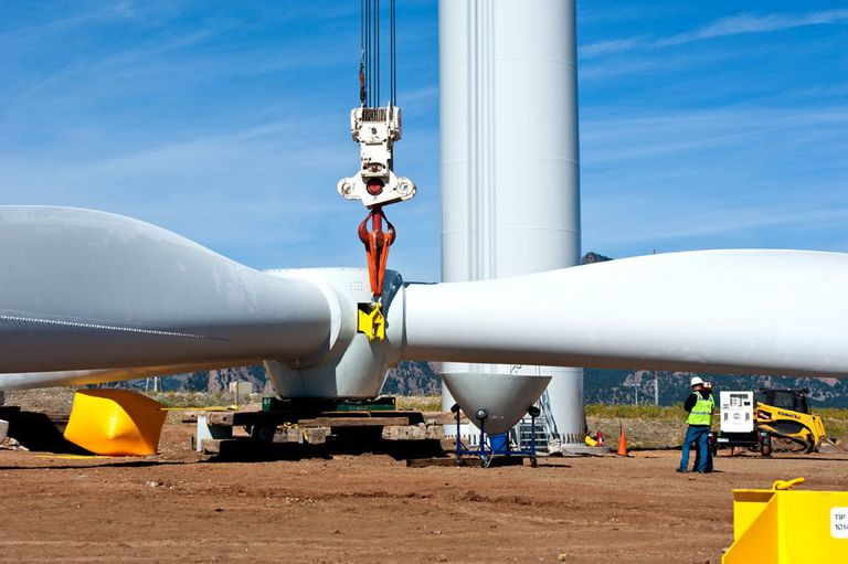 National Wind Technology Center wind turbine being worked on