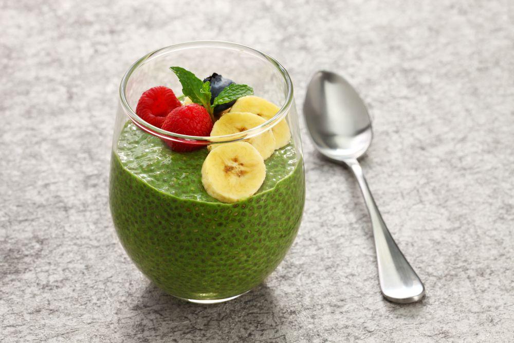 green chia pudding