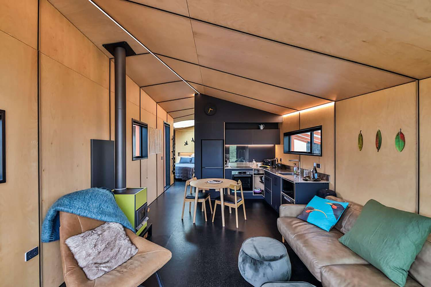 Skylark Cabin by Barry Connor living room and kitchen