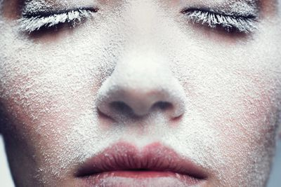 women face close up with toxic beauty chemicals