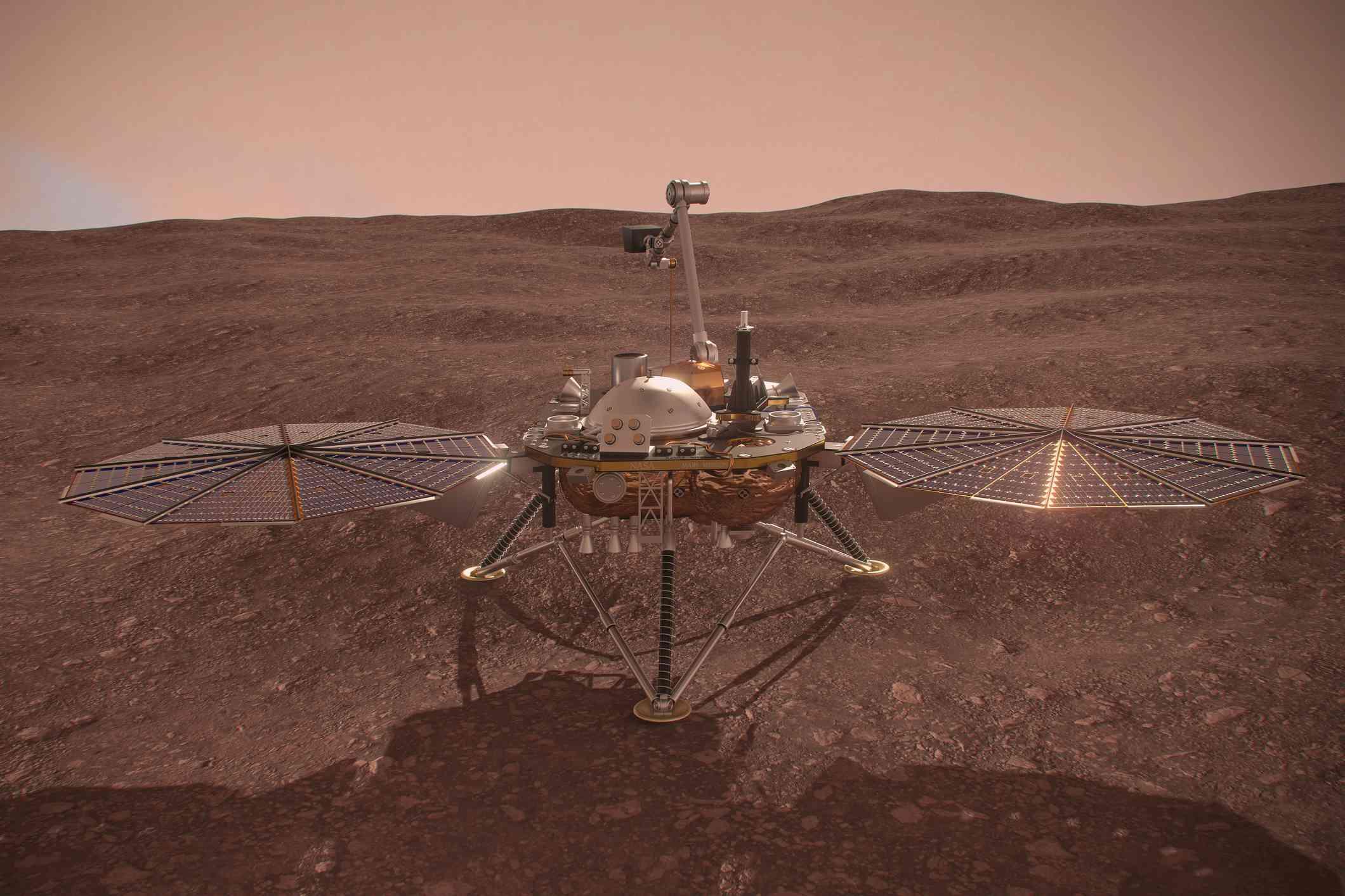 NASA's InSight lander- Mars probe 3D Illustration