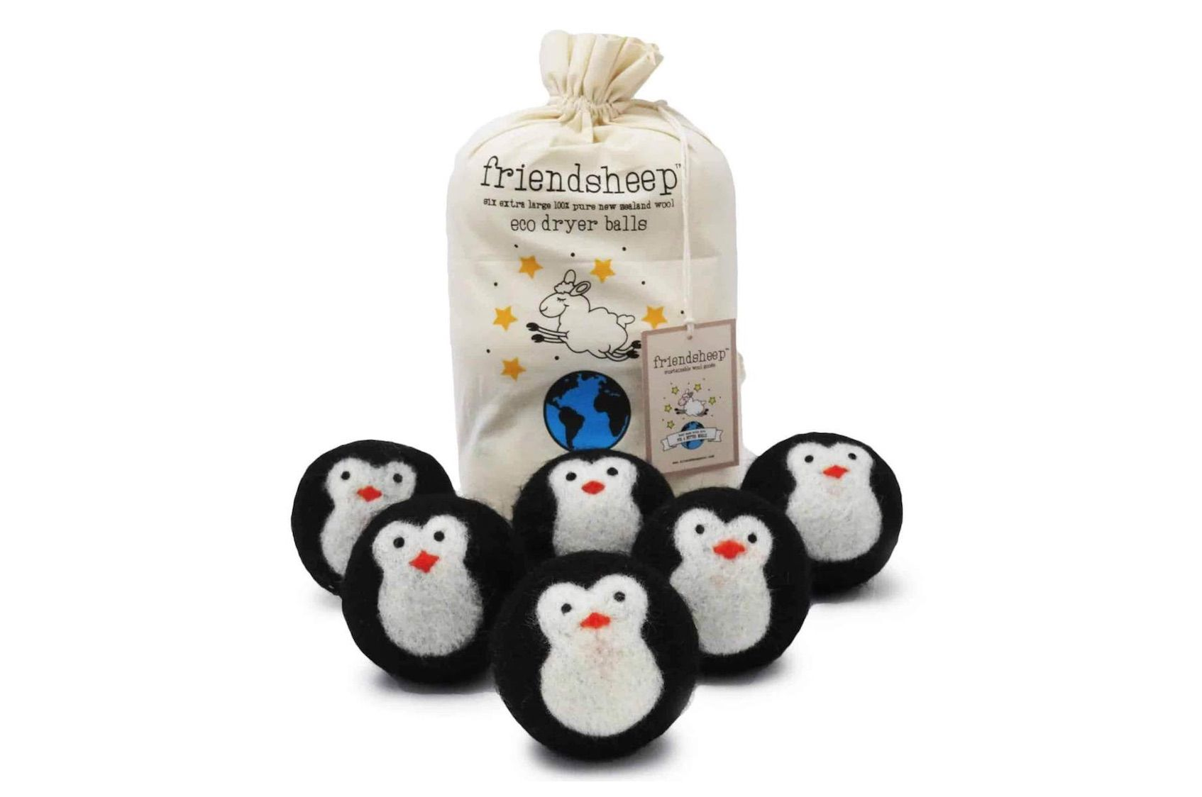 Cute wool dryer balls with penguin faces