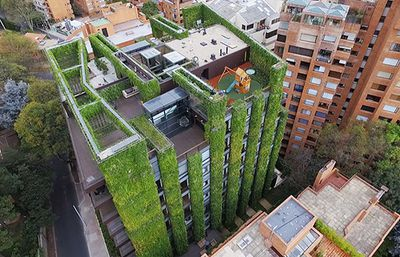Aerial view of the building with green walls