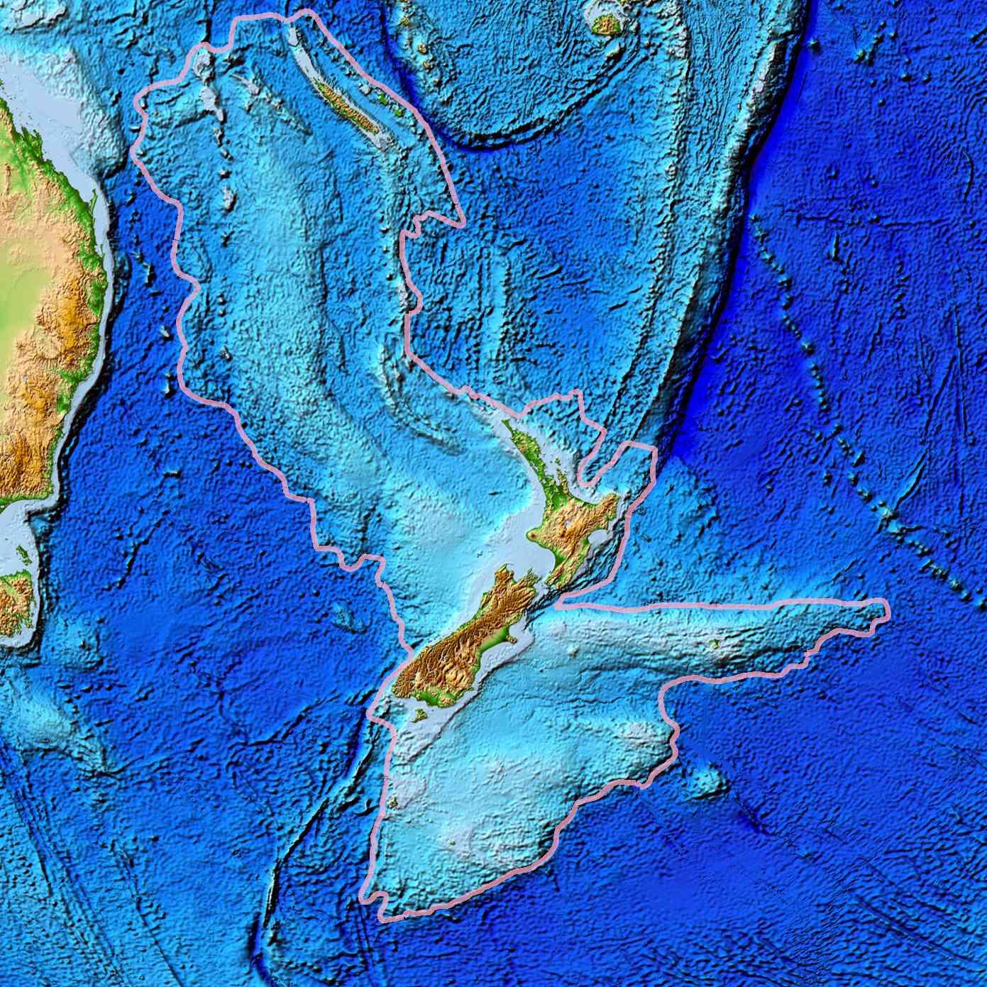 topographical map of Zealandia