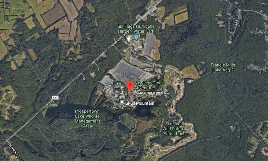 Google Maps screenshot of Six Flags Great Adventure
