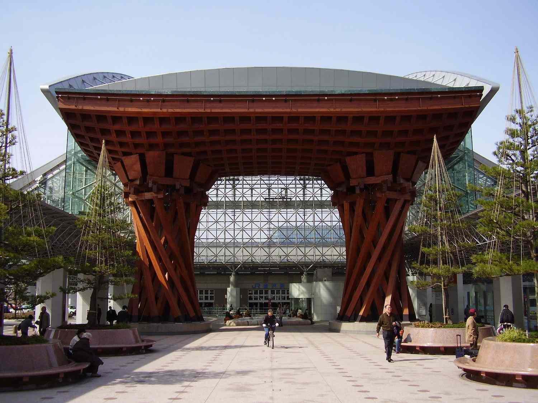 The entrance gate to Kanazawa Station in Japan