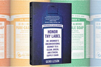 Dr Bronner's book and soap labels