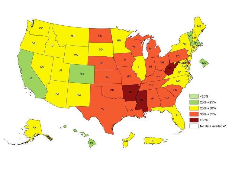 CDC obesity prevalence map