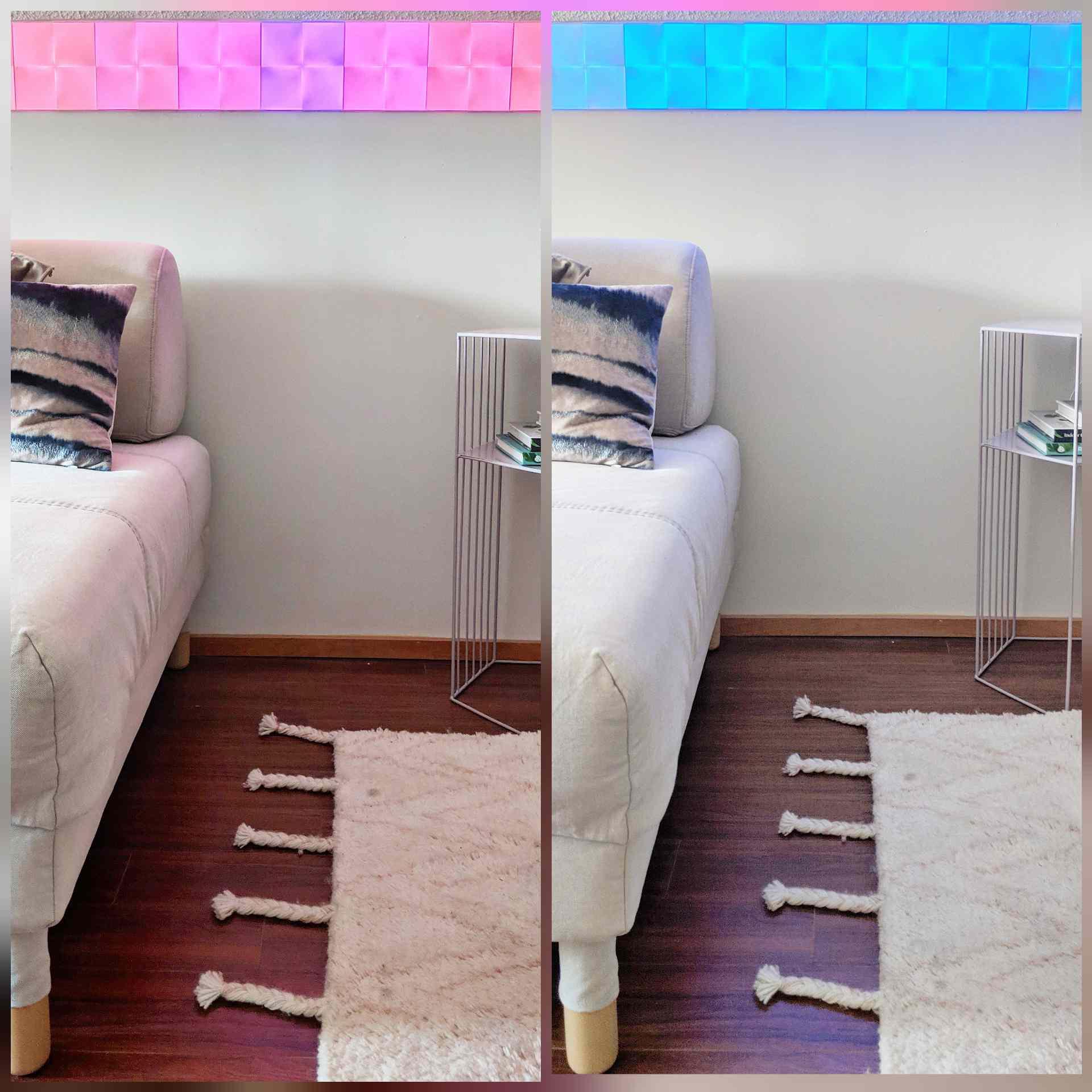 Nanoleaf Canvas lights mounted on wall