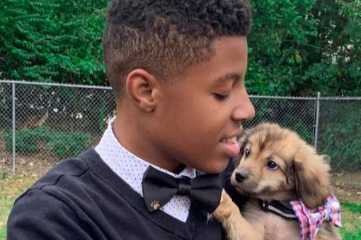 Sir Darius Brown with puppy wearing bow tie