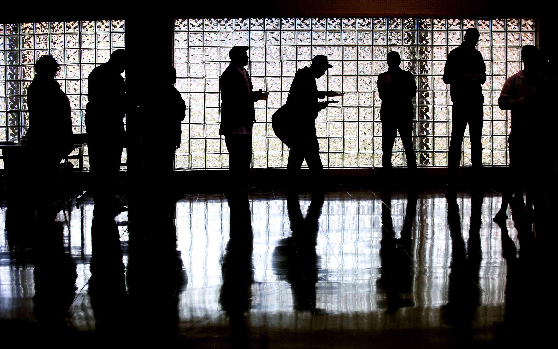 voting line at precinct in North Carolina