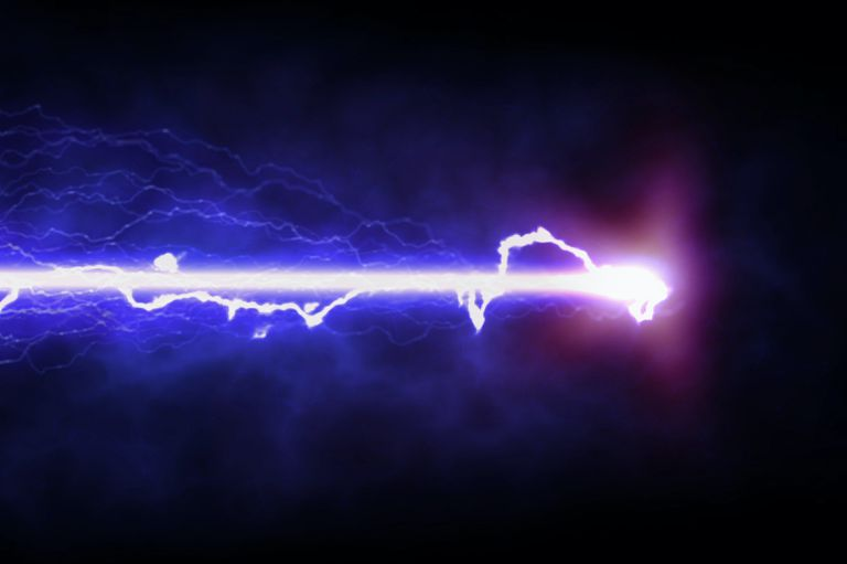A laser creating blue light and electricity.