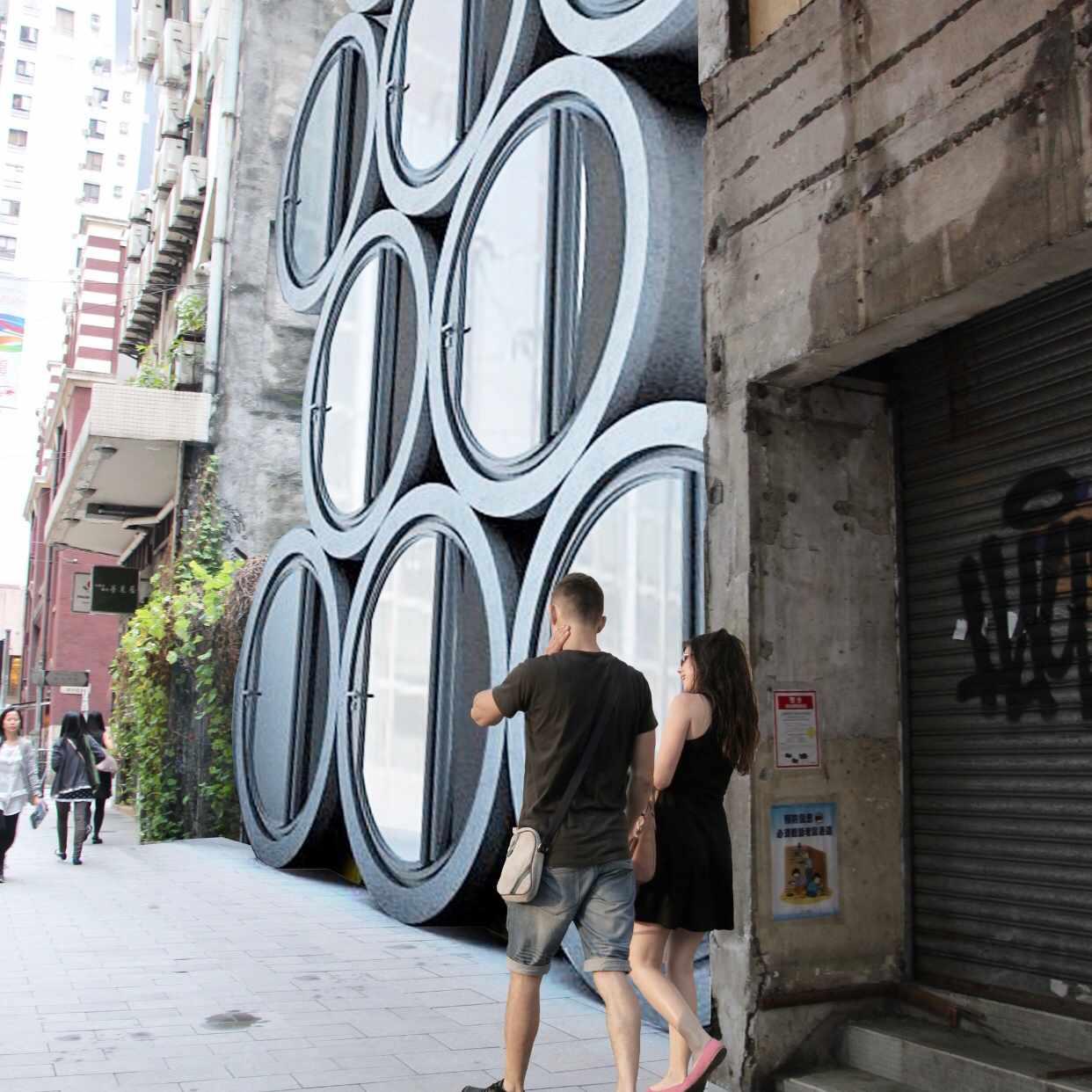 Rendering of O-Tube units at street level, Hong Kong
