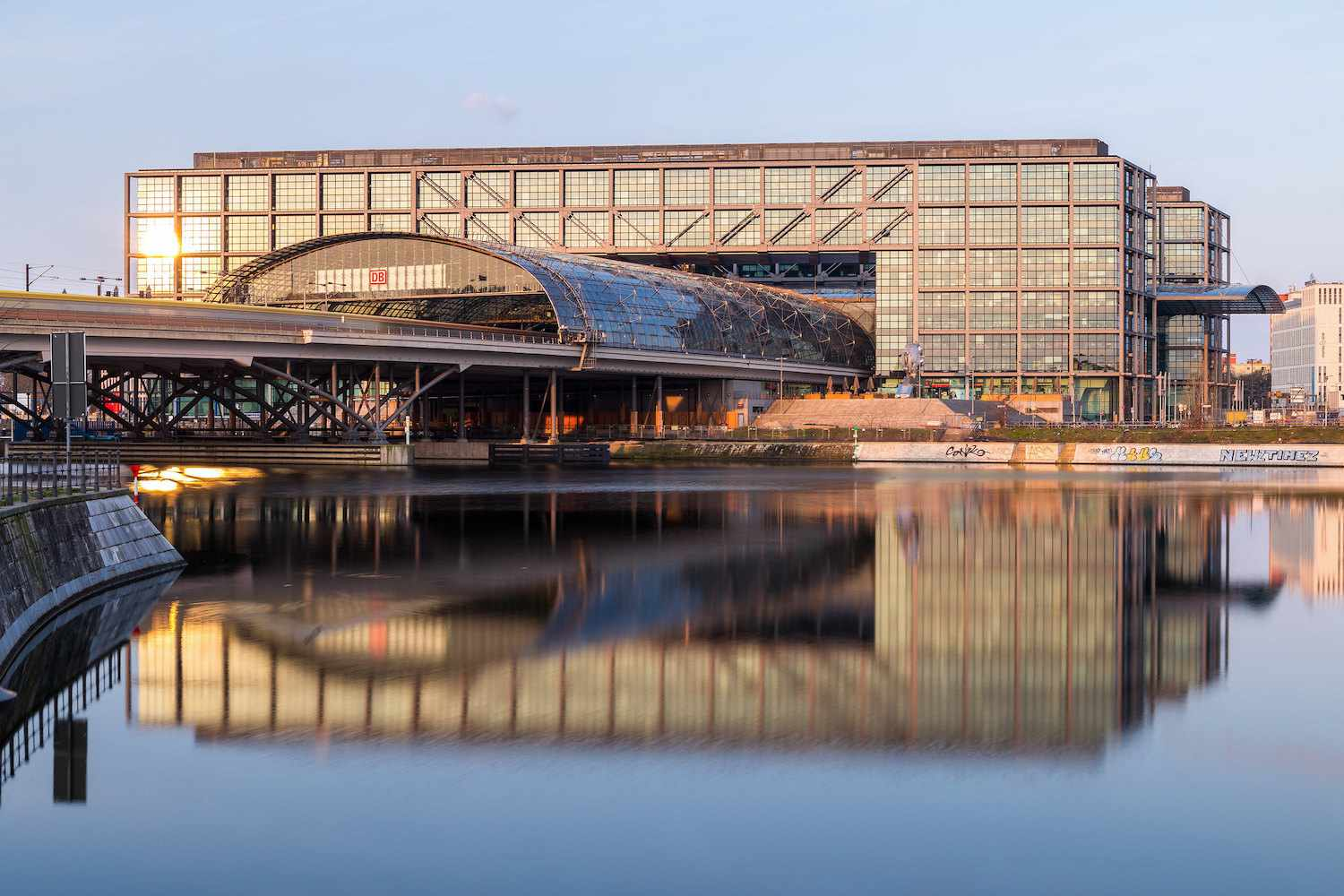 Berlin's Central Station reflected in the water