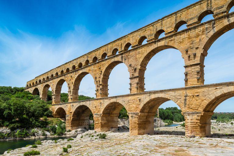 Pont Du Gard aqueduct spanning across a river