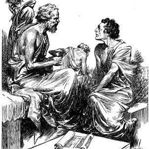 A sketch of Socrates during a lecture, holding a goblet