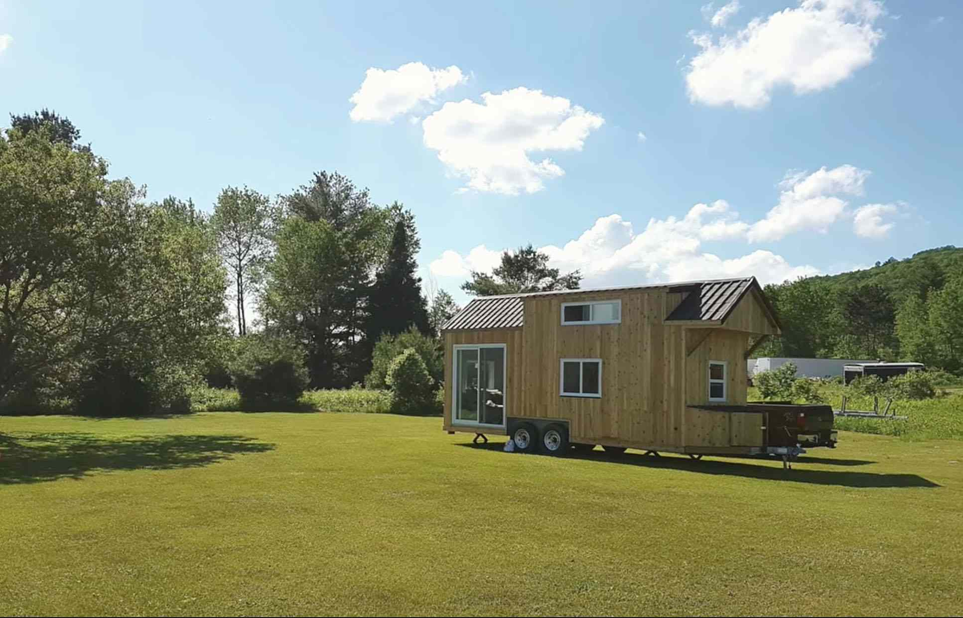 family of three diy tiny house transformer furniture exterior