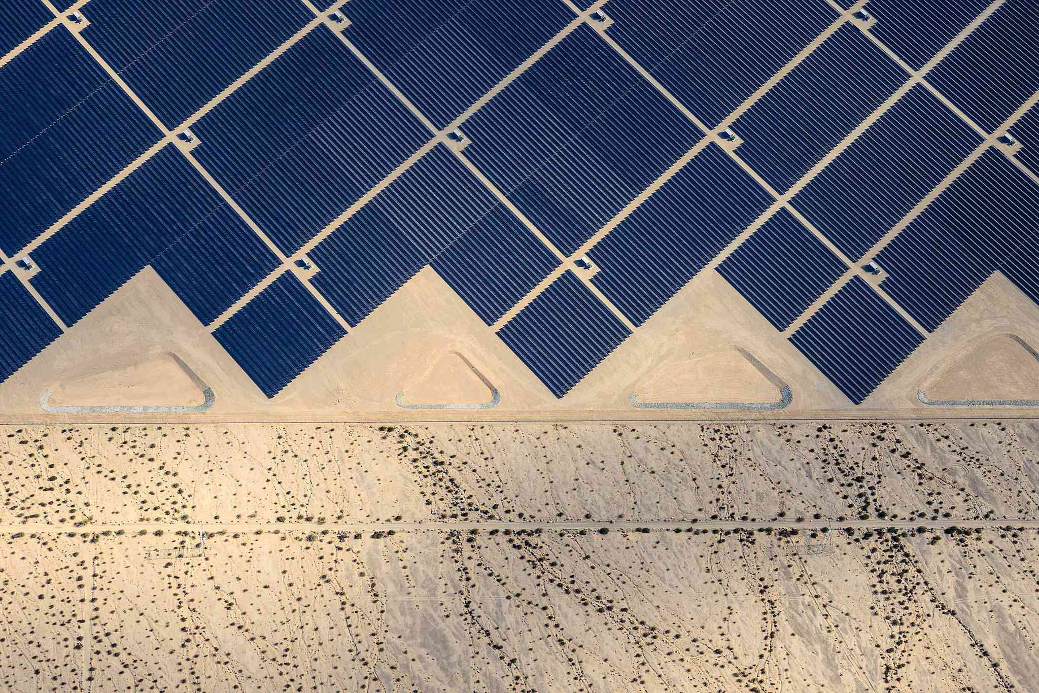 The Desert Sunlight Solar Farm in California's Mojave Desert uses approximately 8.8 million panels and generates 500 MW of electricity.