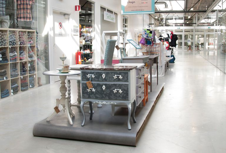 Refurbished and upcycled furniture for sale a the ReTuna mall.