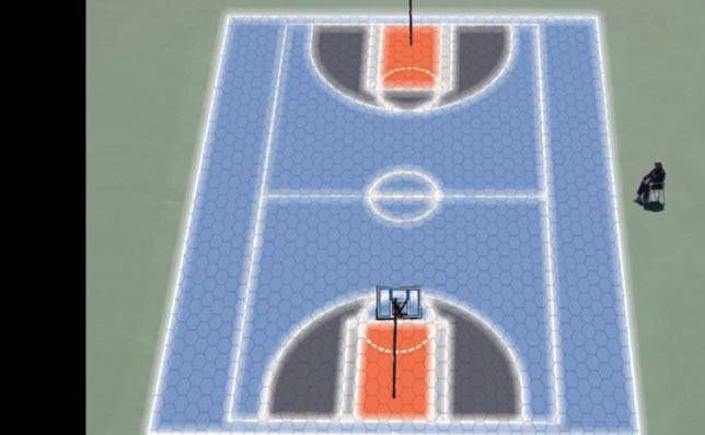 Basketball court created by LED lights