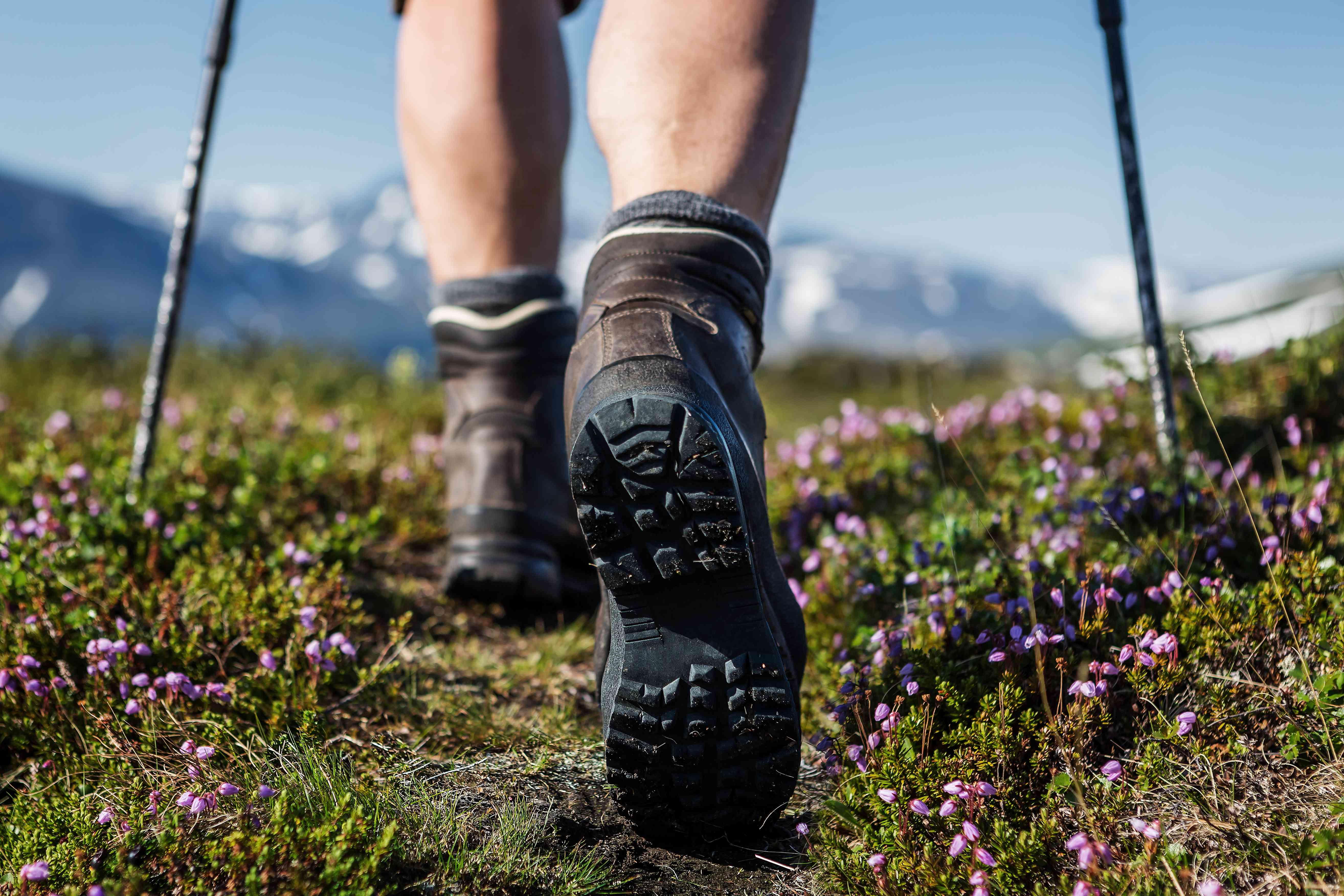Hiking boots, mountains