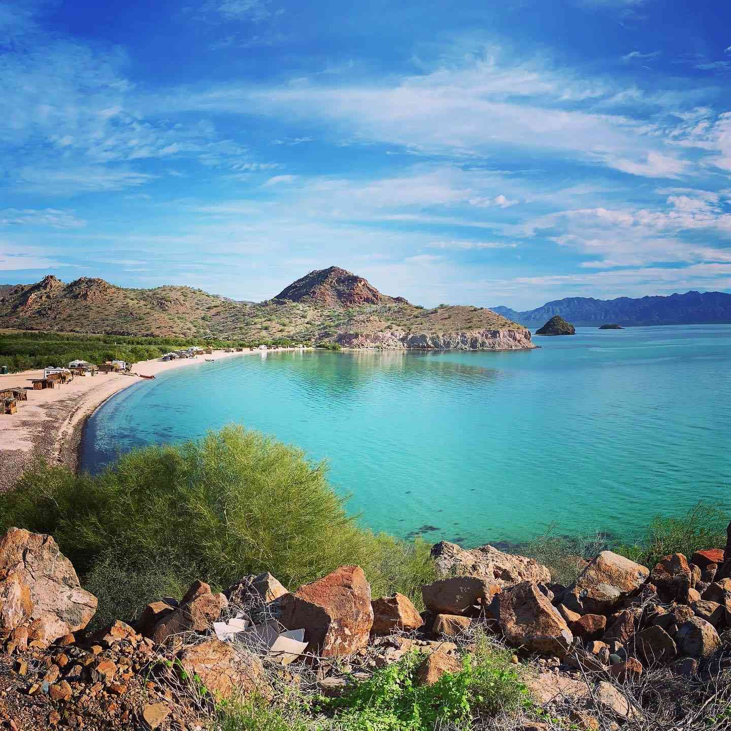 Playa Cocos, one of the many beaches you can camp on for a nominal fee in Baja, Mexico, along the Sea of Cortez.
