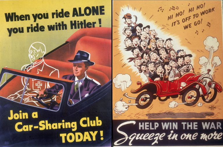 Side by side World War II propaganda posters, one saying if you ride alone you ride with Hitler and the other encouraging riders to carpool and help win the war
