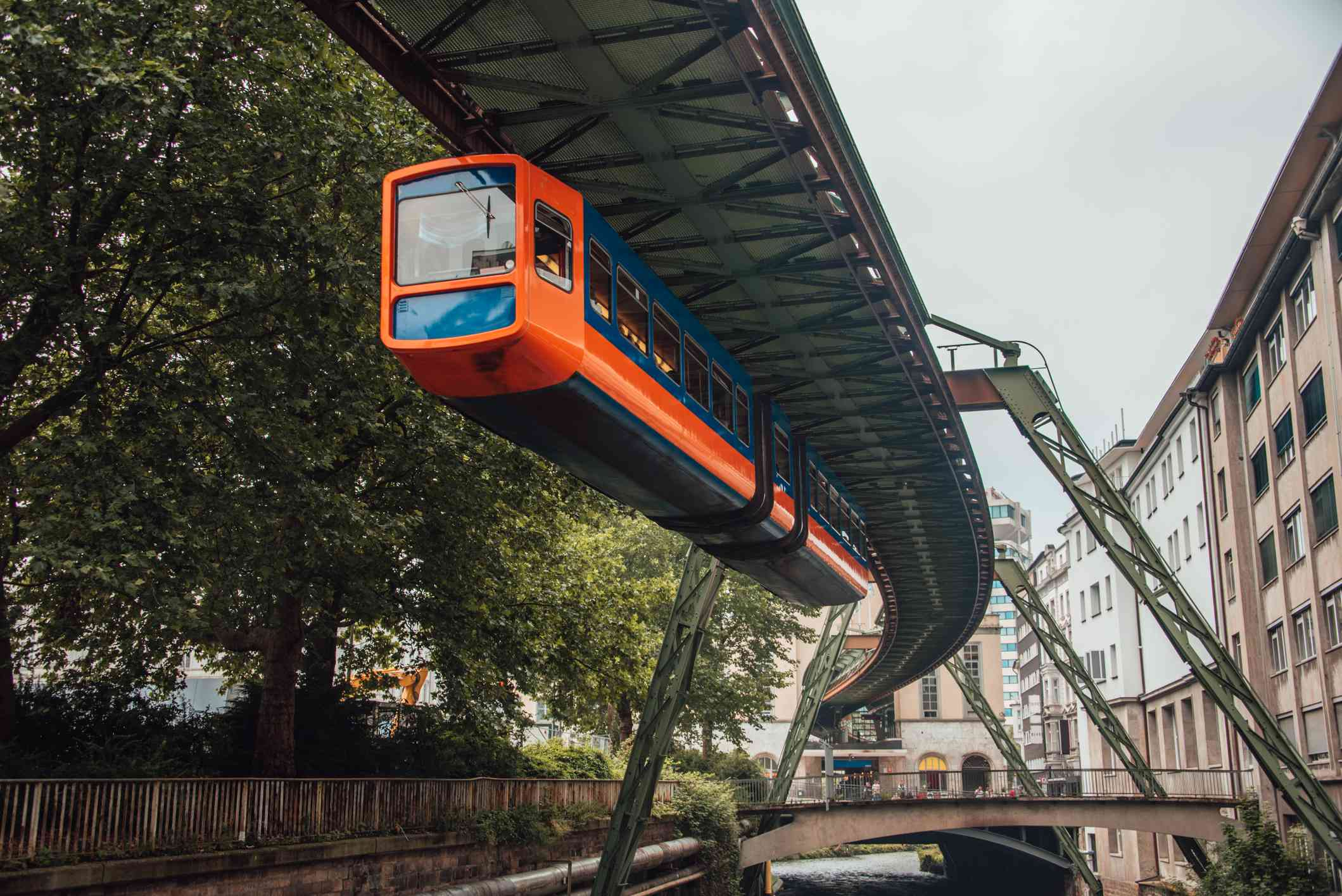 Overhead railway running over canal in Wuppertal, Germany