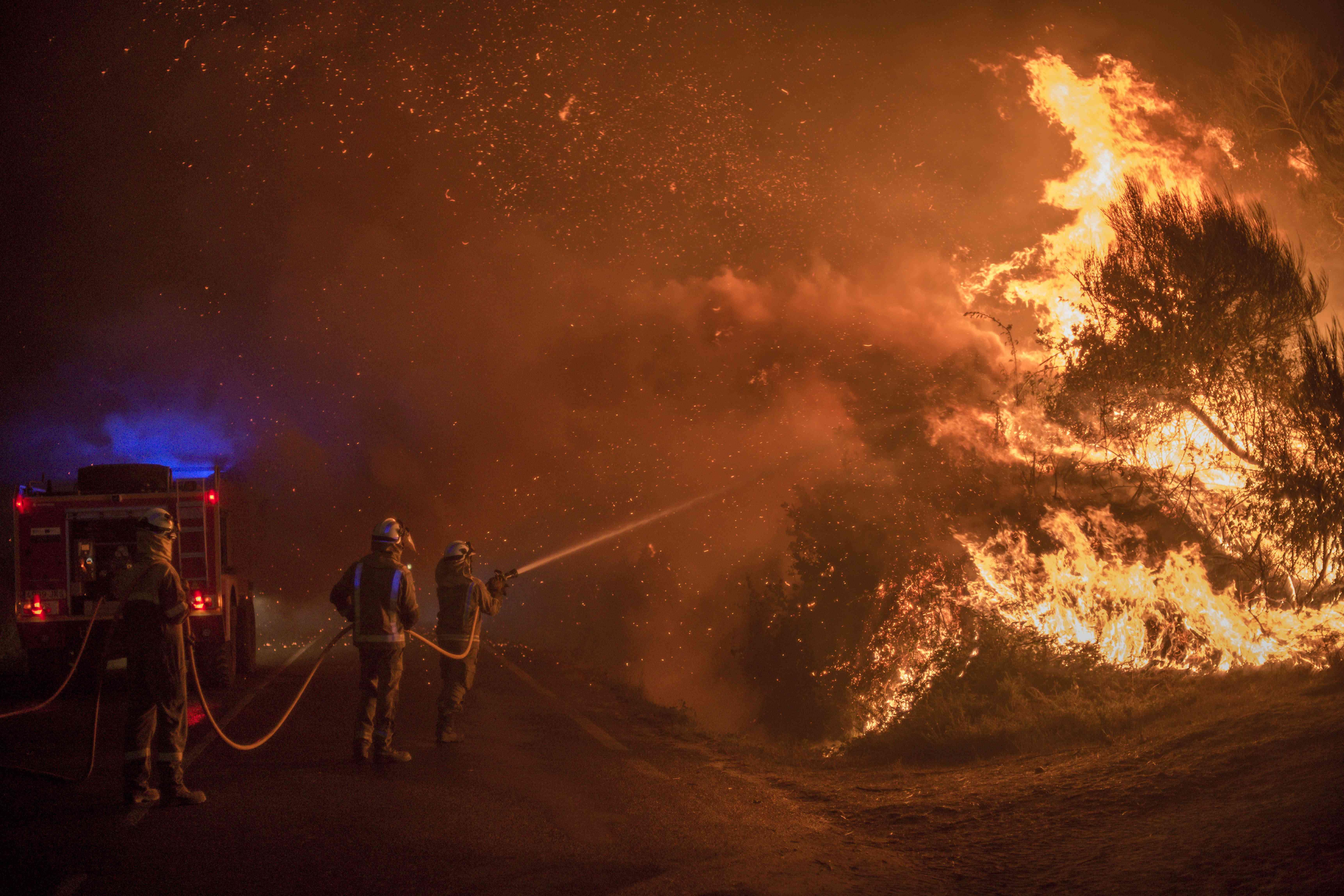 firefighters battling blaze
