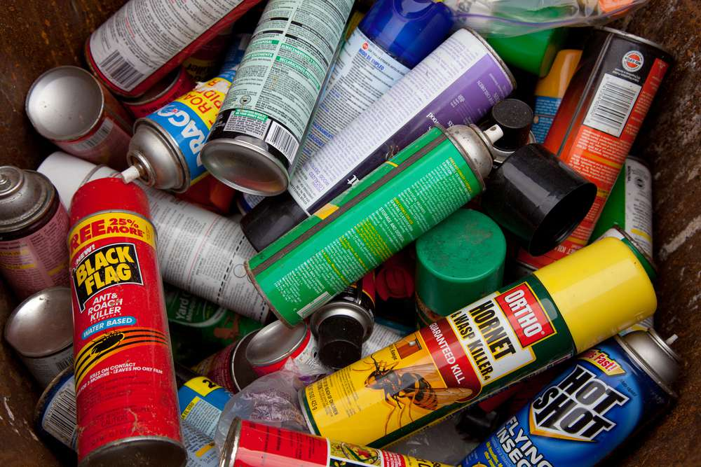 Aerosol cans that contained hazardous products like paints or bug sprays should be disposed as hazardous waste.
