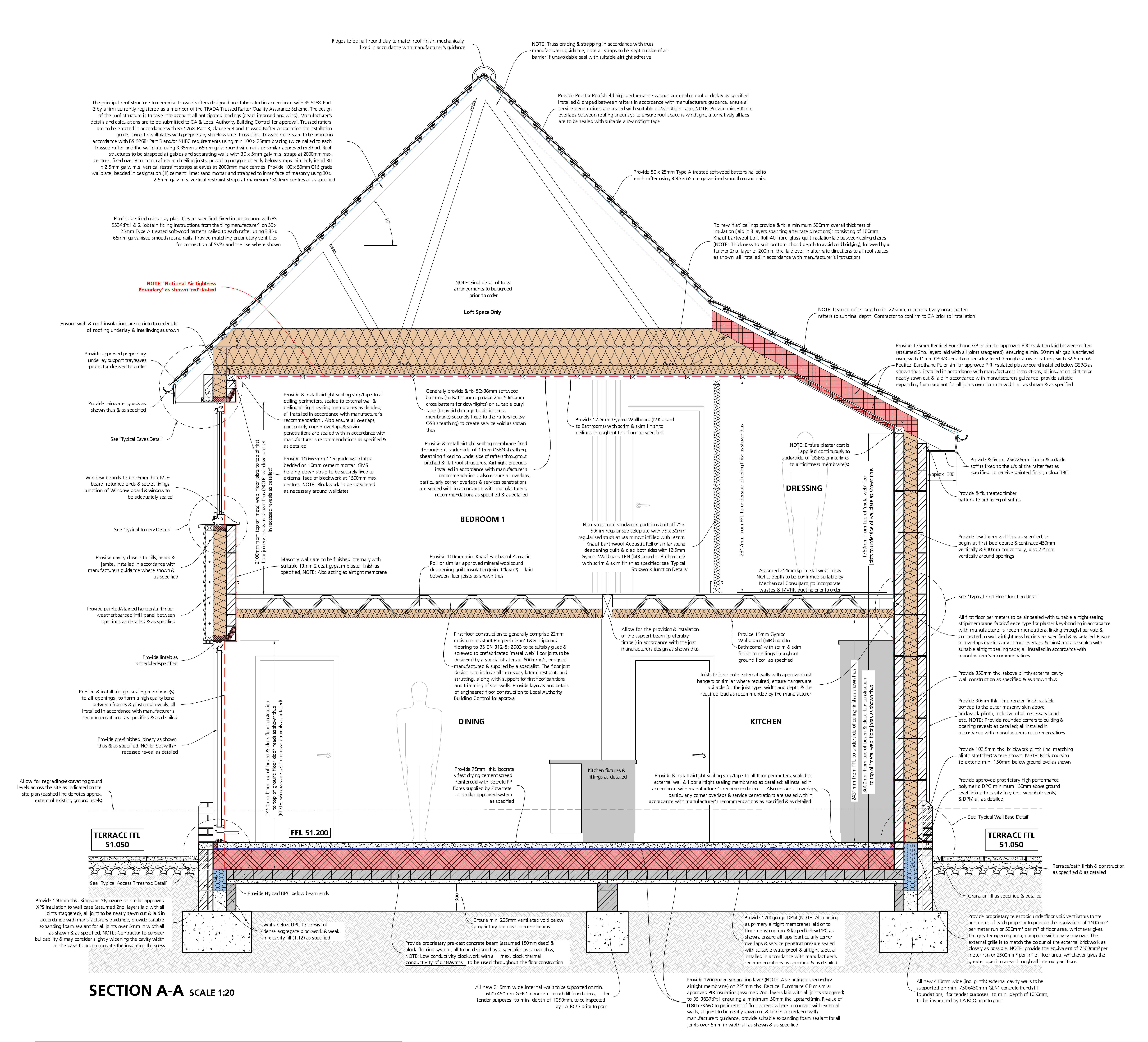 Section through house