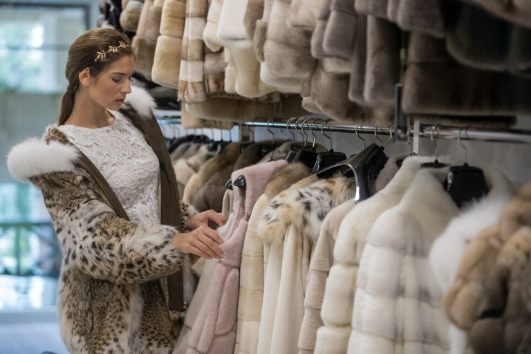 rack of fur coats