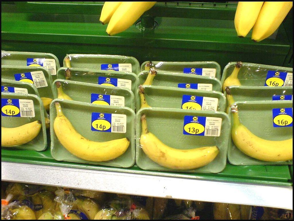 individually packaged bananas
