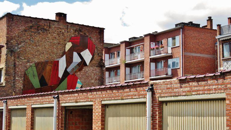 Los collages masivos de arte callejero del artista están hechos con puertas recicladas (video)