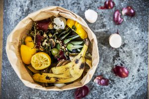 fruit and vegetable scraps in a bin on a counter